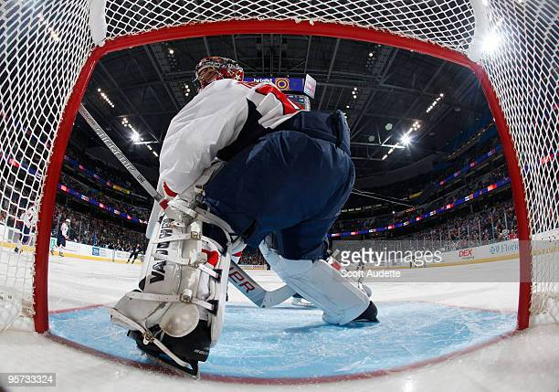 Goaltender Jose Theodore of the Washington Capitals defends the goal against the Tampa Bay Lightning at the St Pete Times Forum on January 12 2010 in...