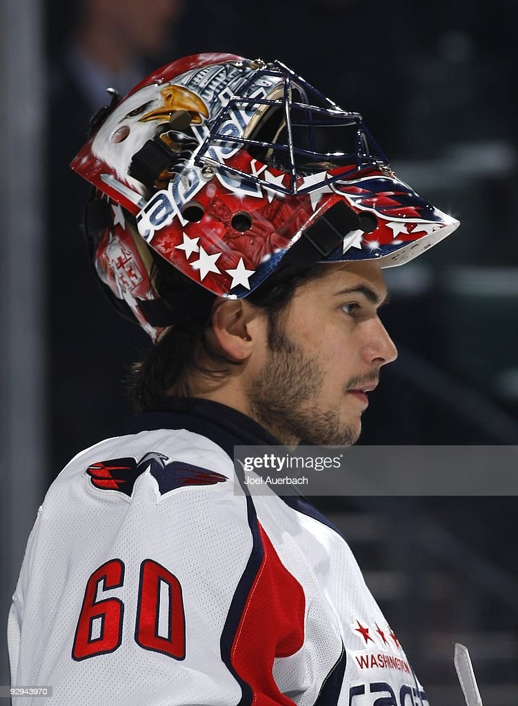 Goaltender Jose Theodore of the Washington Capitals prior to the start of the first period against the Florida Panthers on November 6 2009 at the...