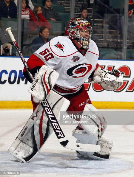 Goaltender Justin Peters of the Carolina Hurricanes defends the net against the Florida Panthers at the BankAtlantic Center on January 7 2011 in...