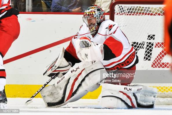 Goaltender Justin Peters of the Carolina Hurricanes guards the net against the Pittsburgh Penguins on November 19 2010 at Consol Energy Center in...