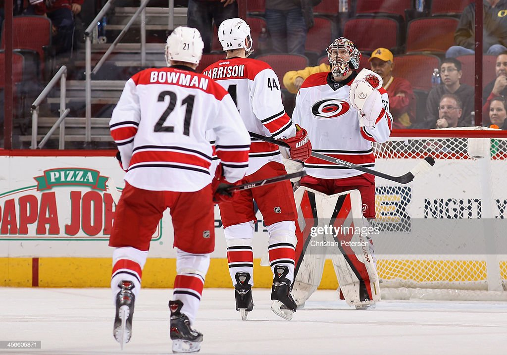 Goaltender Justin Peters #35 of the Carolina Hurricanes is congratulated by <a gi-track='captionPersonalityLinkClicked' href=/galleries/search?phrase=Jay+Harrison&family=editorial&specificpeople=714374 ng-click='$event.stopPropagation()'>Jay Harrison</a> #44 and <a gi-track='captionPersonalityLinkClicked' href=/galleries/search?phrase=Drayson+Bowman&family=editorial&specificpeople=4111563 ng-click='$event.stopPropagation()'>Drayson Bowman</a> #21 after defeating the Phoenix Coyotes in the NHL game at Jobing.com Arena on December 14, 2013 in Glendale, Arizona. The Hurricanes defeated the Coyotes 3-1.