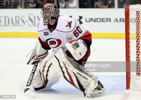 Goaltender Justin Peters of the Carolina Hurricanes plays against the Los Angeles Kings during the game at Staples Center on October 20 2010 in Los...