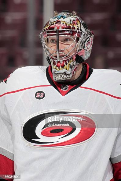 Goaltender Justin Peters of the Carolina Hurricanes skates prior to the game against the Florida Panthers on December 18 2011 at the BankAtlantic...