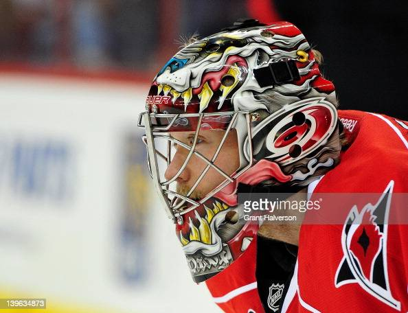 Goaltender Justin Peters of the Carolina Hurricanes watches the action against the Anaheim Ducks at the RBC Center on February 23 2012 in Raleigh...