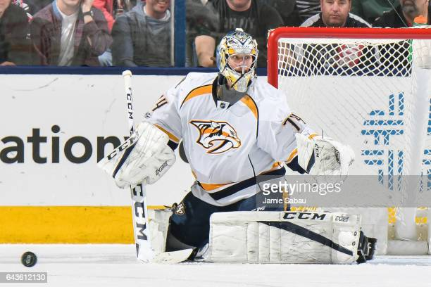 Goaltender Juuse Saros of the Nashville Predators defends the net against the Columbus Blue Jackets on February 19 2017 at Nationwide Arena in...