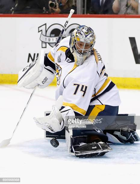 Goaltender Juuse Saros of the Nashville Predators makes a save during the second period of Game Five of the 2017 NHL Stanley Cup Final against the...