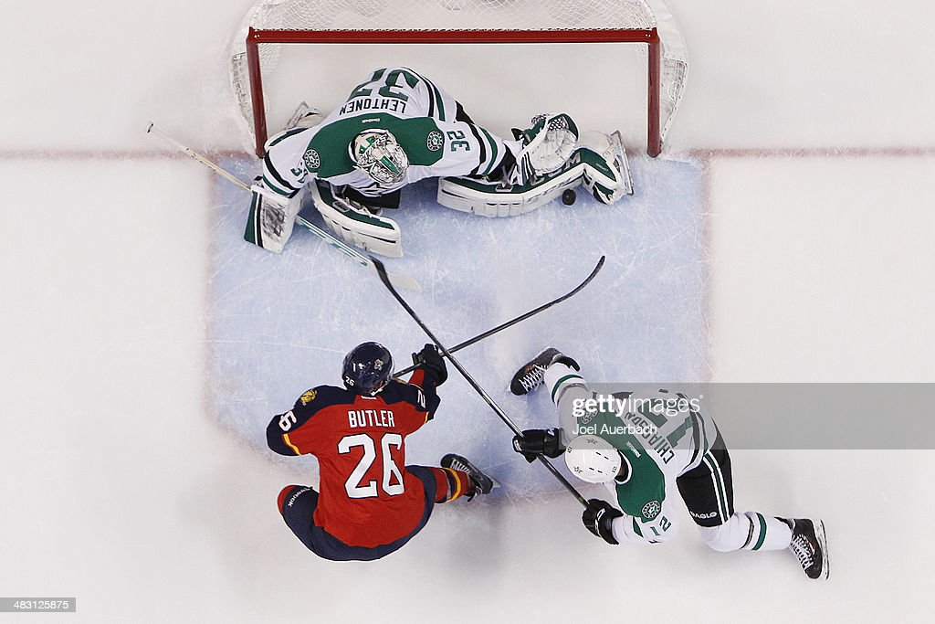Goaltender Kari Lehtonen of the Dallas Stars stops a shot by Bobby Butler of the Florida Panthers at the BBT Center on April 6 2014 in Sunrise...