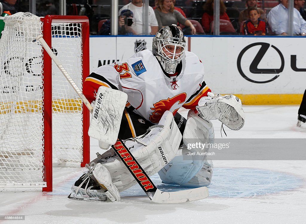 Goaltender Karri Ramo #31 of the Calgary Flames defends the net against the Florida Panthers at the BB&T Center on November 8, 2014 in Sunrise, Florida. The Flames defeated the Panthers 6-4.