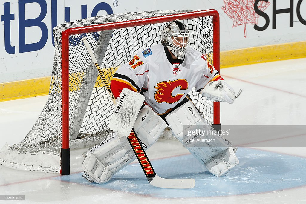 Goaltender Karri Ramo #31 of the Calgary Flames warms up prior to the game against the Florida Panthers at the BB&T Center on November 8, 2014 in Sunrise, Florida.