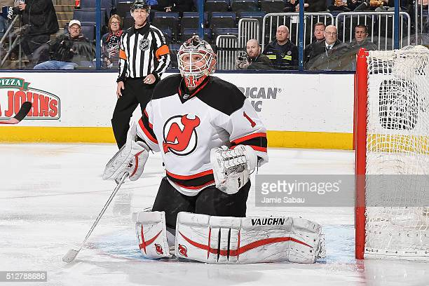Goaltender Keith Kinkaid of the New Jersey Devils defends the net against the Columbus Blue Jackets on February 25 2016 at Nationwide Arena in...