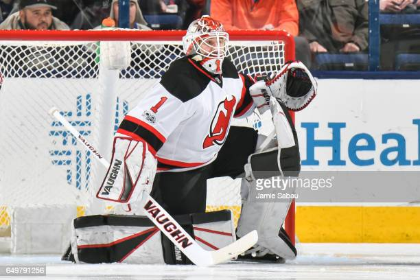 Goaltender Keith Kinkaid of the New Jersey Devils defends the net against the Columbus Blue Jackets on March 7 2017 at Nationwide Arena in Columbus...
