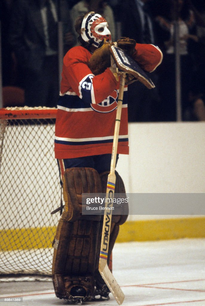 Goaltender Ken Dryden of the Montreal Canadiens stands on the ice during a game in Circa 1970