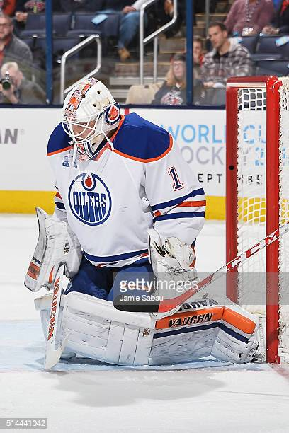Goaltender Laurent Brossoit of the Edmonton Oilers defends the net against the Columbus Blue Jackets on March 4 2016 at Nationwide Arena in Columbus...