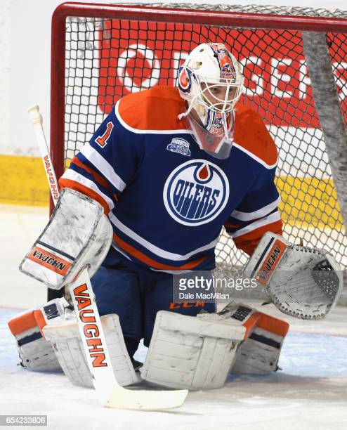Goaltender Laurent Brossoit of the Edmonton Oilers plays in the game against the Nashville Predators at Rexall Place on March 14 2016 in Edmonton...