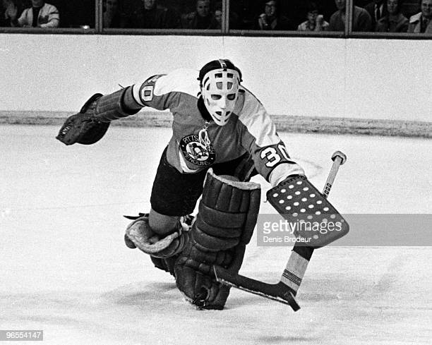 Goaltender Leslie John Binkley of the Pittsburgh Penguins protects the net against the Montreal Canadiens in the late 1960's at the Montreal Forum in...