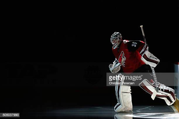 Goaltender Louis Domingue of the Arizona Coyotes skates out onto the ice for the start of the NHL game against the Detroit Red Wings at Gila River...