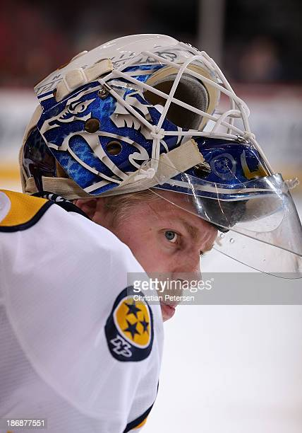 Goaltender Magnus Hellberg of the Nashville Predators during the NHL game against the Phoenix Coyotes at Jobingcom Arena on October 31 2013 in...