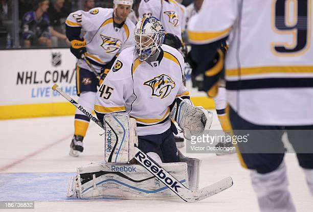 Goaltender Magnus Hellberg of the Nashville Predators warmsup prior to the NHL game against the Los Angeles Kings at Staples Center on November 2...