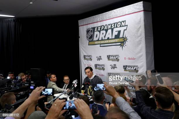 Goaltender MarcAndre Fleury addresses the media after Fleury is taken by the Vegas Golden Knights in the expansion draft during the 2017 NHL Awards...
