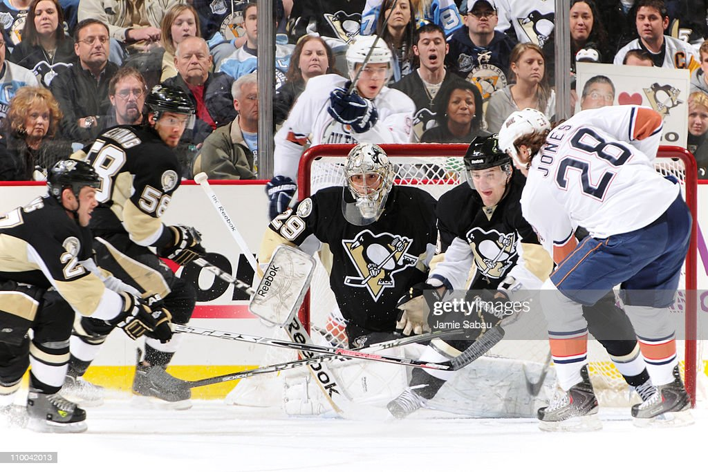 Goaltender Marc-Andre Fleury #29 of the Pittsburgh Penguins defends the net during an Edmonton Oilers power play on March 13, 2011 at CONSOL Energy Center in Pittsburgh, Pennsylvania. Pittsburgh killed off all four Edmonton power plays in a 5-1 victory.