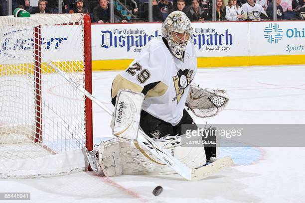 Goaltender MarcAndre Fleury of the Pittsburgh Penguins makes a save against the Columbus Blue Jackets on March 12 2009 at Nationwide Arena in...