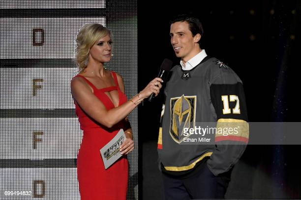 Goaltender MarcAndre Fleury talks with Kathryn Tappen after Fleury is taken by the Vegas Golden Knights in the expansion draft during the 2017 NHL...