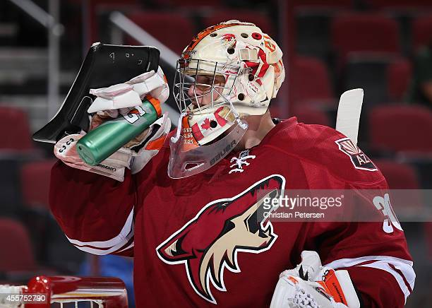 Goaltender Marek Langhamer of the Arizona Coyotes during the NHL rookie camp game against the Los Angeles Kings at Gila River Arena on September 16...