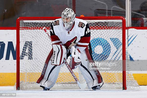 Goaltender Marek Langhamer of the Arizona Coyotes white team in action during the Arizona Coyotes scrimmage game at Gila River Arena on September 24...