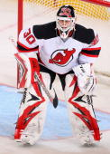 Goaltender Martin Brodeur of the New Jersey Devils in action during the NHL game against the Phoenix Coyotes at Jobingcom Arena on January 14 2010 in...