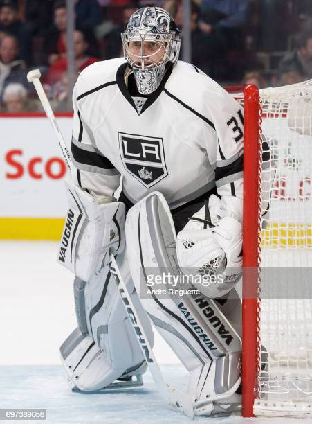 Goaltender Martin Jones of the Los Angeles Kings plays in the game against the Montreal Canadiens at the Bell Centre on December 12 2014 in Montreal...