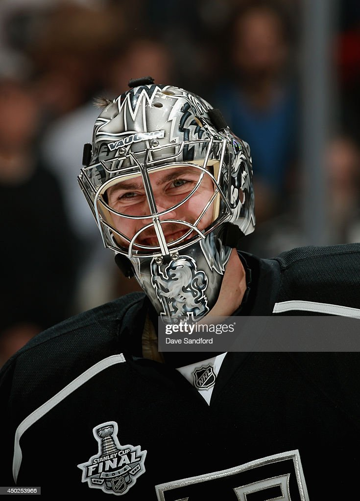 Goaltender <a gi-track='captionPersonalityLinkClicked' href=/galleries/search?phrase=Martin+Jones+-+Ice+Hockey+Player&family=editorial&specificpeople=12318960 ng-click='$event.stopPropagation()'>Martin Jones</a> of the Los Angeles Kings smiles before taking on the New York Rangers in Game Two of the 2014 Stanley Cup Final at Staples Center on June 7, 2014 in Los Angeles, California.