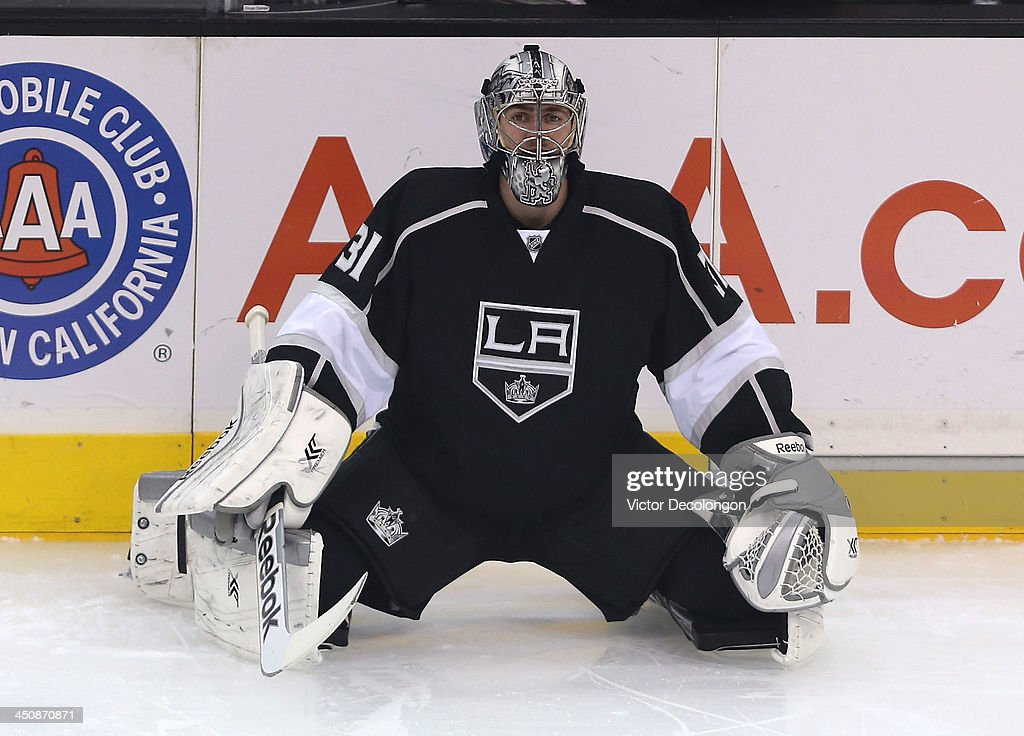 Goaltender Martin Jones #31 of the Los Angeles Kings warms up prior to the NHL game against the Tampa Bay Lightning at Staples Center on November 19, 2013 in Los Angeles, California. The Kings defeated the Lightning 5-2.