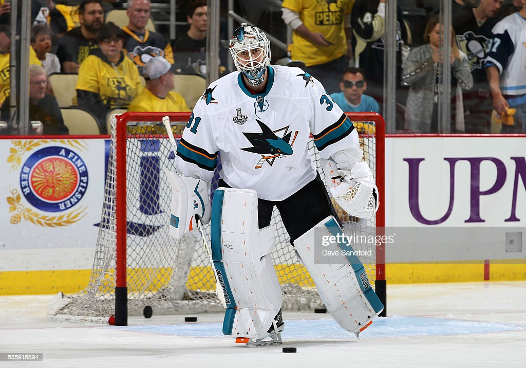 Goaltender <a gi-track='captionPersonalityLinkClicked' href=/galleries/search?phrase=Martin+Jones+-+Ice+Hockey+Player&family=editorial&specificpeople=12318960 ng-click='$event.stopPropagation()'>Martin Jones</a> #31 of the San Jose Sharks warms up prior to Game One of the 2016 NHL Stanley Cup Final against the Pittsburgh Penguins at Consol Energy Center on May 30, 2016 in Pittsburgh, Pennsylvania.