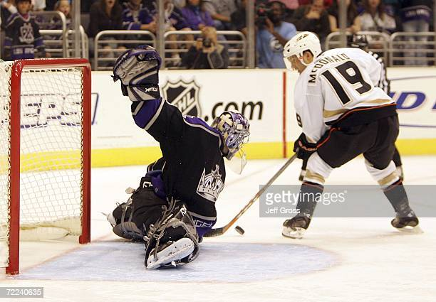 Goaltender Mathieu Garon of the Los Angeles Kings makes a save on a shot by Andy McDonald of the Anaheim Ducks in the shootout period at Staples...