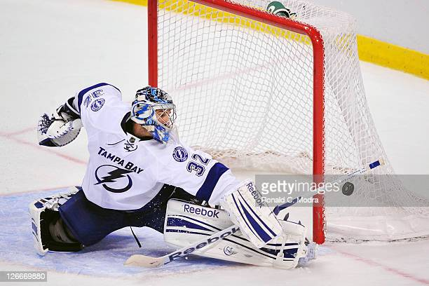 Goaltender Mathieu Garon of the Tampa Bay Lightning defends the net during a NHL preseason game against the Florida Panthers on September 24 2011 at...