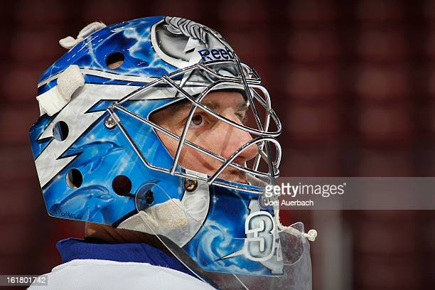 Goaltender Mathieu Garon of the Tampa Bay Lightning looks on during the pregame warm up against the Florida Panthers at the BBT Center on February 16...