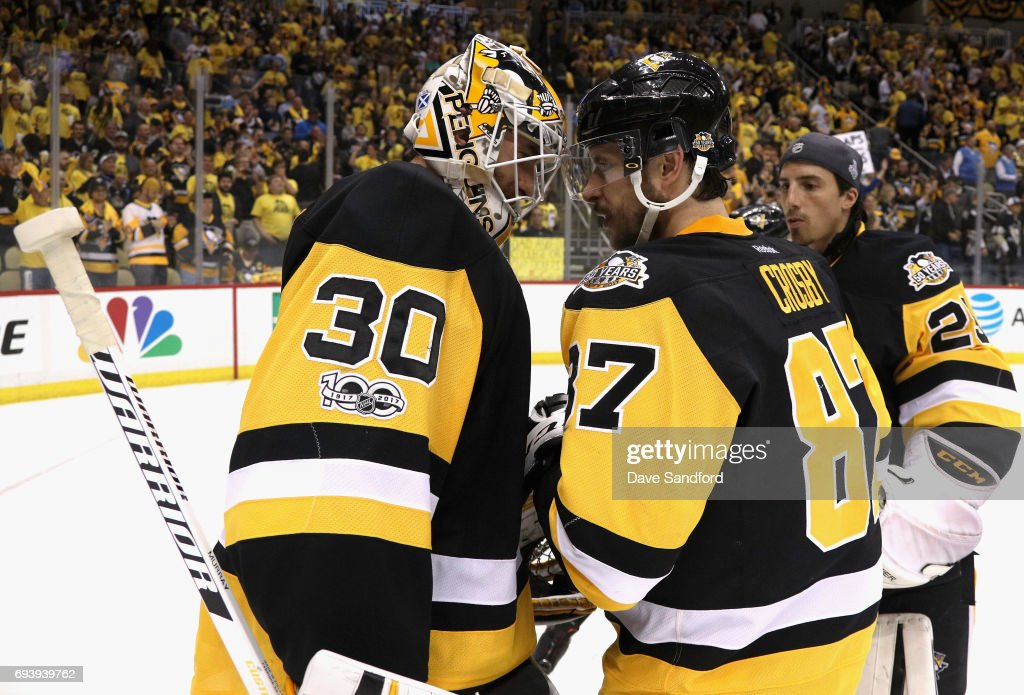 Goaltender Matt Murray #30 of the Pittsburgh Penguins is congratulated by teammate Matt Cullen #7 after their 6-0 victory over the Nashville Predators in Game Five of the 2017 NHL Stanley Cup Final at PPG Paints Arena on June 8, 2017 in Pittsburgh, Pennslyvannia. The Penguins lead the series 3-2.