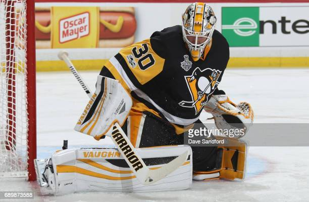 Goaltender Matt Murray of the Pittsburgh Penguins makes a save during the first period of Game One of the 2017 NHL Stanley Cup Final against the...