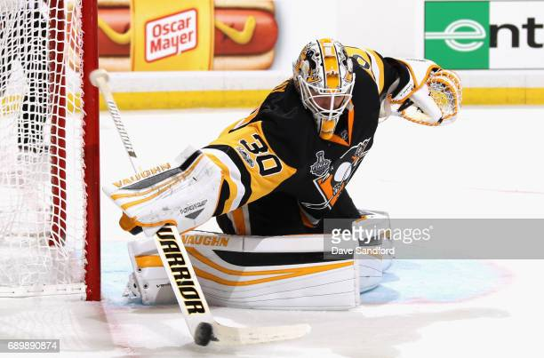 Goaltender Matt Murray of the Pittsburgh Penguins makes a save during the third period of Game One of the 2017 NHL Stanley Cup Final against the...