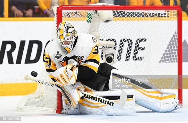 Goaltender Matt Murray of the Pittsburgh Penguins makes a save in the second period of Game Six of the 2017 NHL Stanley Cup Final against the...
