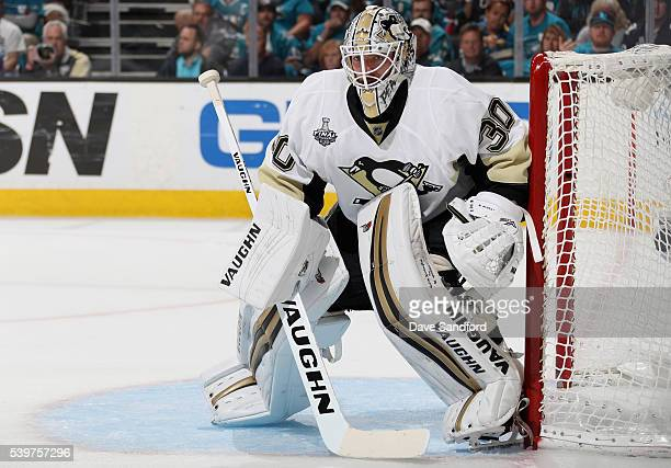 Goaltender Matt Murray of the Pittsburgh Penguins plays against the San Jose Sharks in the second period of the Game 6 of the 2016 NHL Stanley Cup...