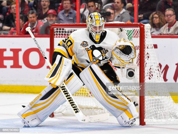 Goaltender Matt Murray of the Pittsburgh Penguins protects his net against the Ottawa Senators in Game Six of the Eastern Conference Final during the...