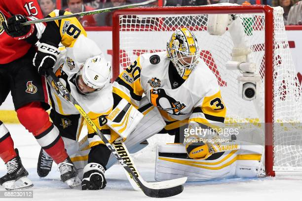 Goaltender Matt Murray of the Pittsburgh Penguins stops the puck against the Ottawa Senators in Game Six of the Eastern Conference Final during the...