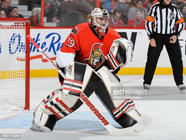 Goaltender Matt O'Connor of the Ottawa Senators guards his net during his first NHL game against the Montreal Canadiens at Canadian Tire Centre on...