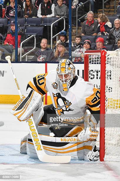 Goaltender Matthew Murray of the Pittsburgh Penguins defends the net against the Columbus Blue Jackets on December 22 2016 at Nationwide Arena in...
