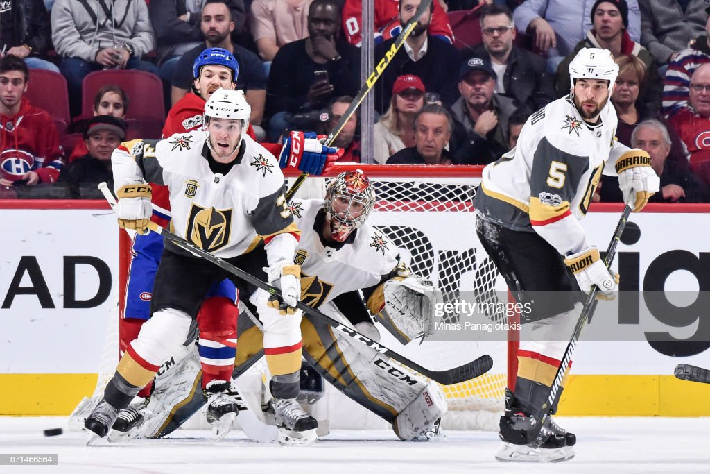 Goaltender Maxime Lagace #33 of the Vegas Golden Knights remains focused in front of his net against the Montreal Canadiens during the NHL game at the Bell Centre on November 7, 2017 in Montreal, Quebec, Canada. The Montreal Canadiens defeated the Vegas Golden Knights 3-2.