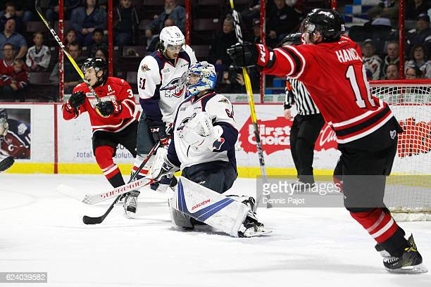 Goaltender Michael DiPietro of the Windsor Spitfires reacts after giving up the game winning overtime goal by Petrus Palmu of the Owen Sound Attack...