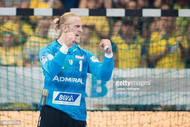 Goaltender Mikael Appelgren of RheinNeckar Loewen celebrates during the DKB HBL match between RheinNeckar Loewen and THW Kiel at SAP Arena on May 31...