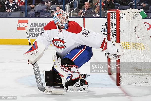 Goaltender Mike Condon of the Montreal Canadiens defends the net against the Columbus Blue Jackets on January 25 2016 at Nationwide Arena in Columbus...