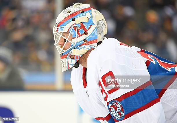 Goaltender Mike Condon of the Montreal Canadiens looks on during the 2016 Bridgestone NHL Classic against the Boston Bruins at Gillette Stadium on...